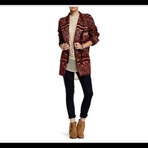 Red Combo Faux Fur Patterned Coat